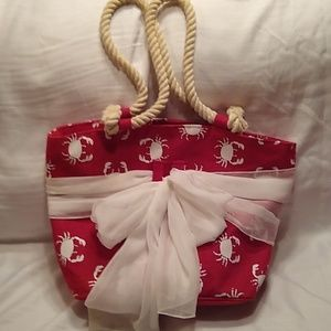 Mud Pie Red White Crab Beach Tote Handbag